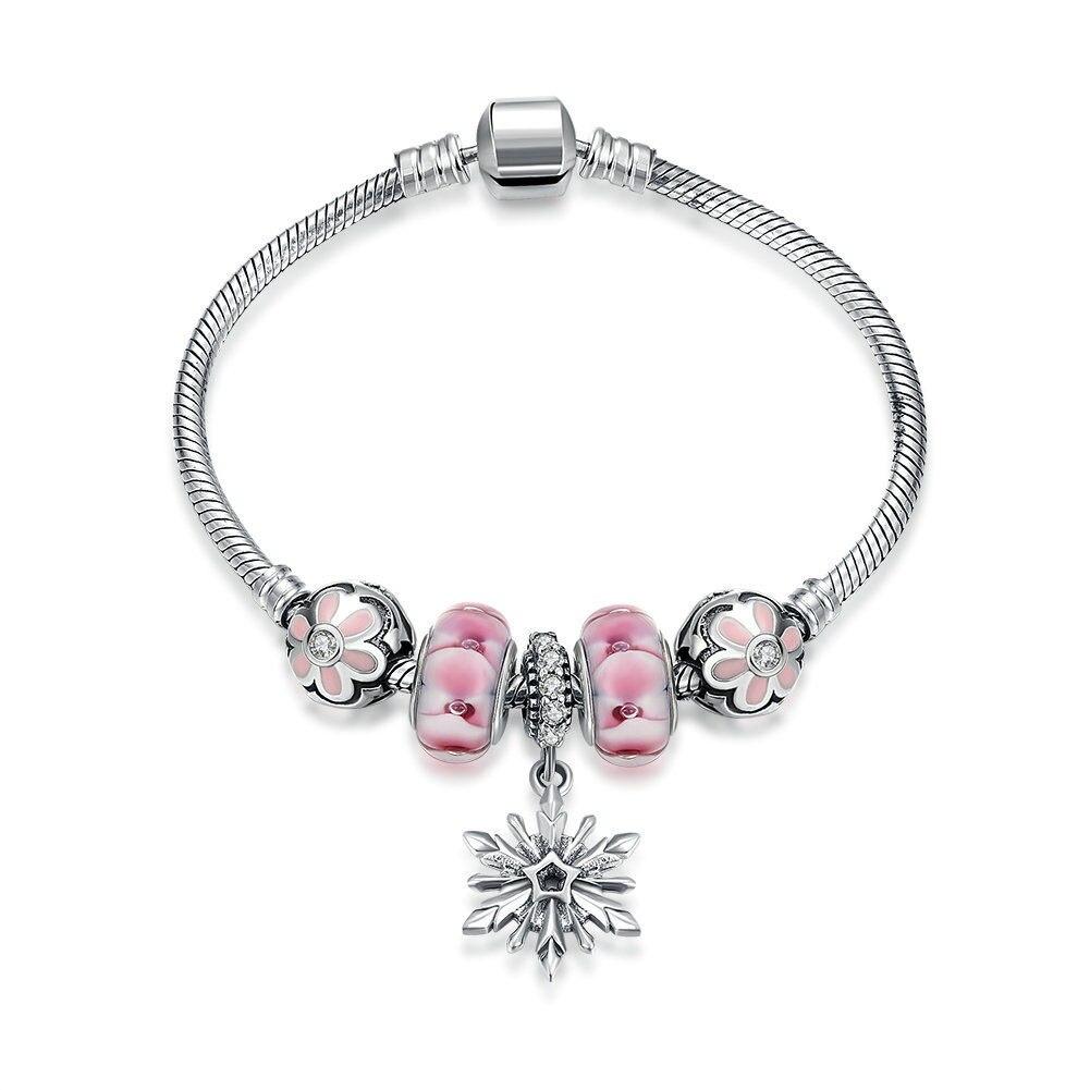 Snowflake Flower Pink Crystal Balls CZ 925 Silver Bracelet недорго, оригинальная цена