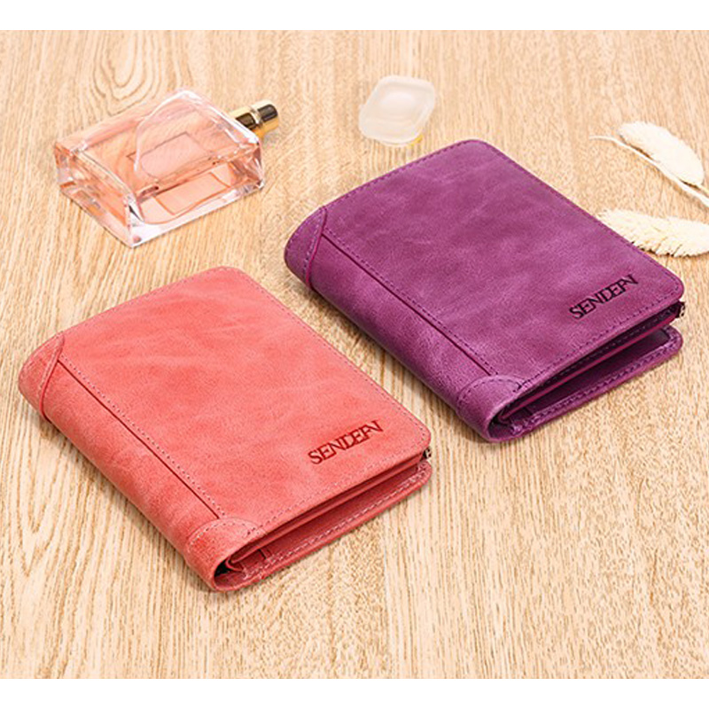 Купить с кэшбэком Sendefn Women Wallets Genuine Leather Lady Purse Small Short Wallet Female Vintage Purses Card Holder Ladies Wallet(Pink/Purple)