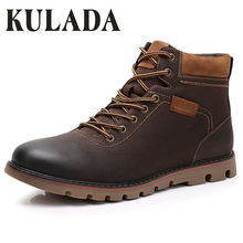KULADA High Quality Super Warm Men Winter Leather Ankle Boots Waterproof Snow Boots Leisure Boots Retro Lace Up Work Shoes Men(China)