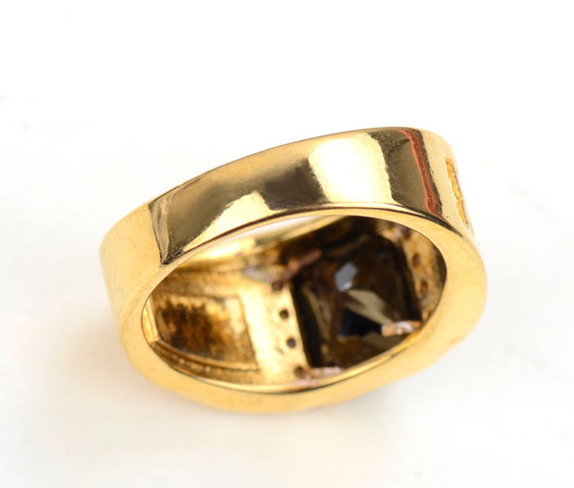 line Shop Gold Color Finger Rings For Men Women With Black Stone