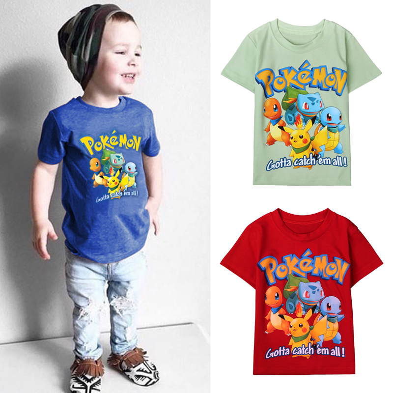 Summer cartoon children top Pokemon t shirts Pikachu Charmander kids boys clothing cotton Pocket Monster baby tees clothes DS40