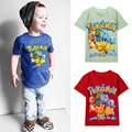 Verão dos desenhos animados crianças top Bolso Pikachu Charmander Pokemon t camisas dos miúdos meninos roupas de algodão t-shirt roupas de bebê Monstro DS40
