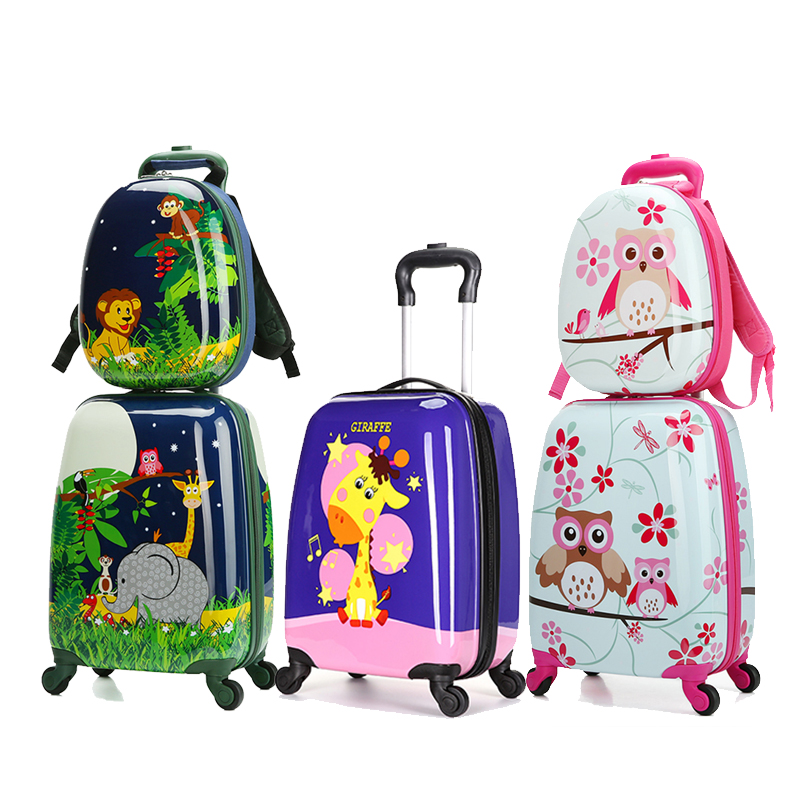 LeTrend Cute Cartoon Children Rolling Luggage Set Spinner Suitcase Wheels Student 18inch Carry On Trolley Kids Animal Travel Bag