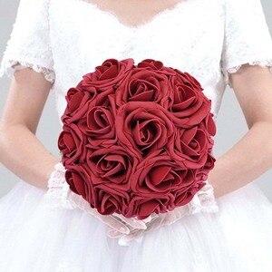 Image 2 - 10 Pcs Real Touch Künstliche Blume Latex Rose Blume Künstliche Bouquet Gefälschte Blume Braut Bouquet Verzieren Blumen Für Hochzeit