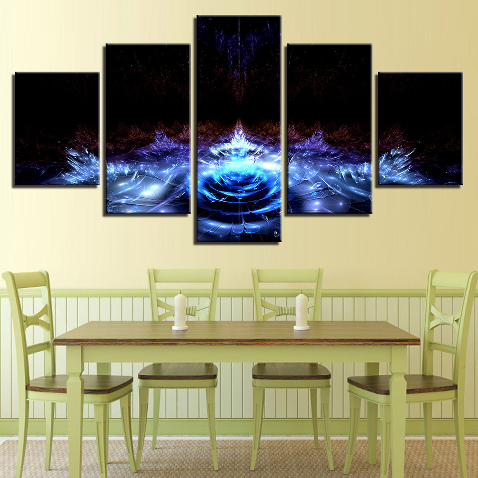 Canvas Pictures Home Decor Wall Art 5 Pieces Blue Water Lily Flowers ...