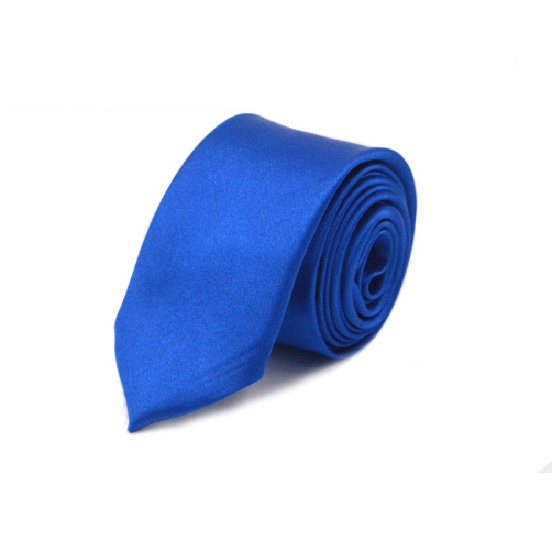 HOOYI 2019 Men Slim Tie Solid Color Royal Blue Necktie Polyester Cheap Narrow Cravat 5cm Width 36 Colors