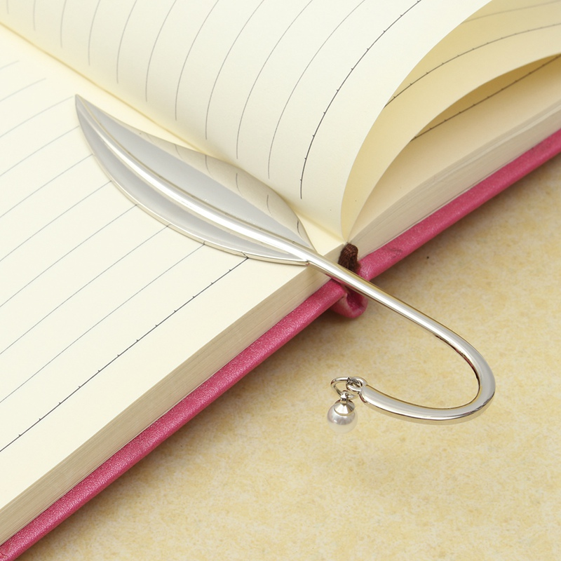 1pc Unique Delicate Silver Leaf Pearl Metal Bookmark Bookmark For Books Paper Clips Office School Supplies Stationery