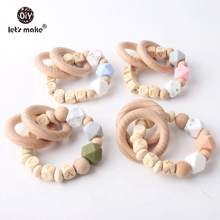 Lets Make Name Bracelet Personalized Rattle Toys Baby 10PC Baby Shower Gift Sensory Chewing Toy Silicone Teether Pendant