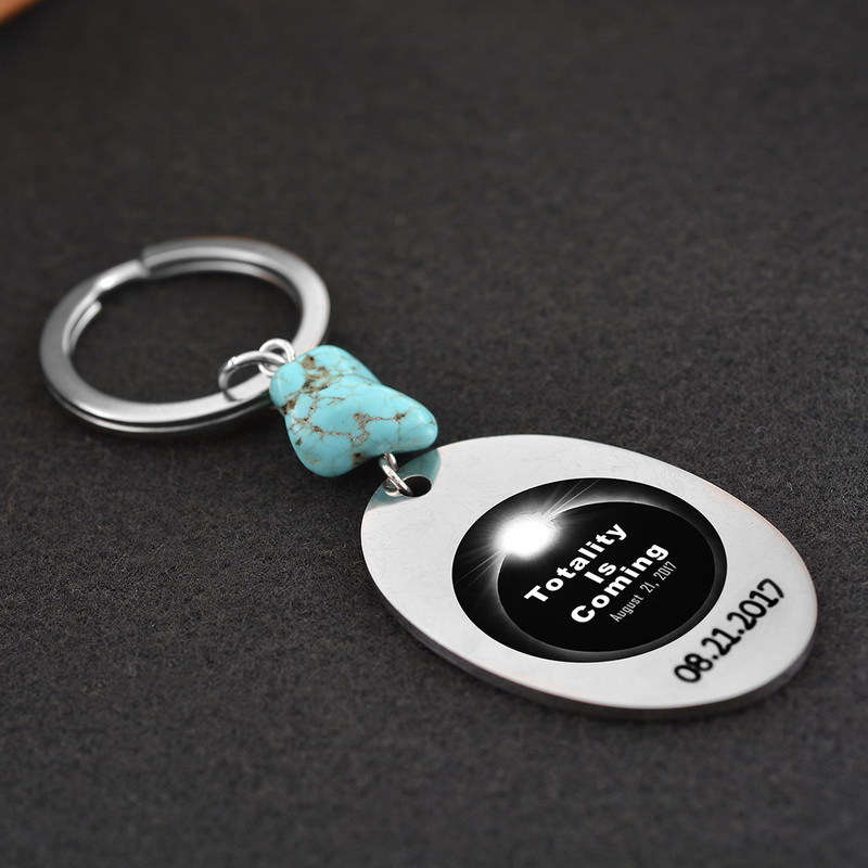 FUNIQUE Homemade Customized Lettering Stainless Steel Key Chains Stainless Steel Jewelry For Women Burned Eclipse Keychain 8cm