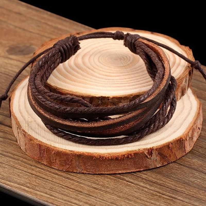 Pulseras de cuero multicapa para hombres mujeres encanto Europa PU cable brazalete enlace cadena pulseras amistad joyería Accesorios