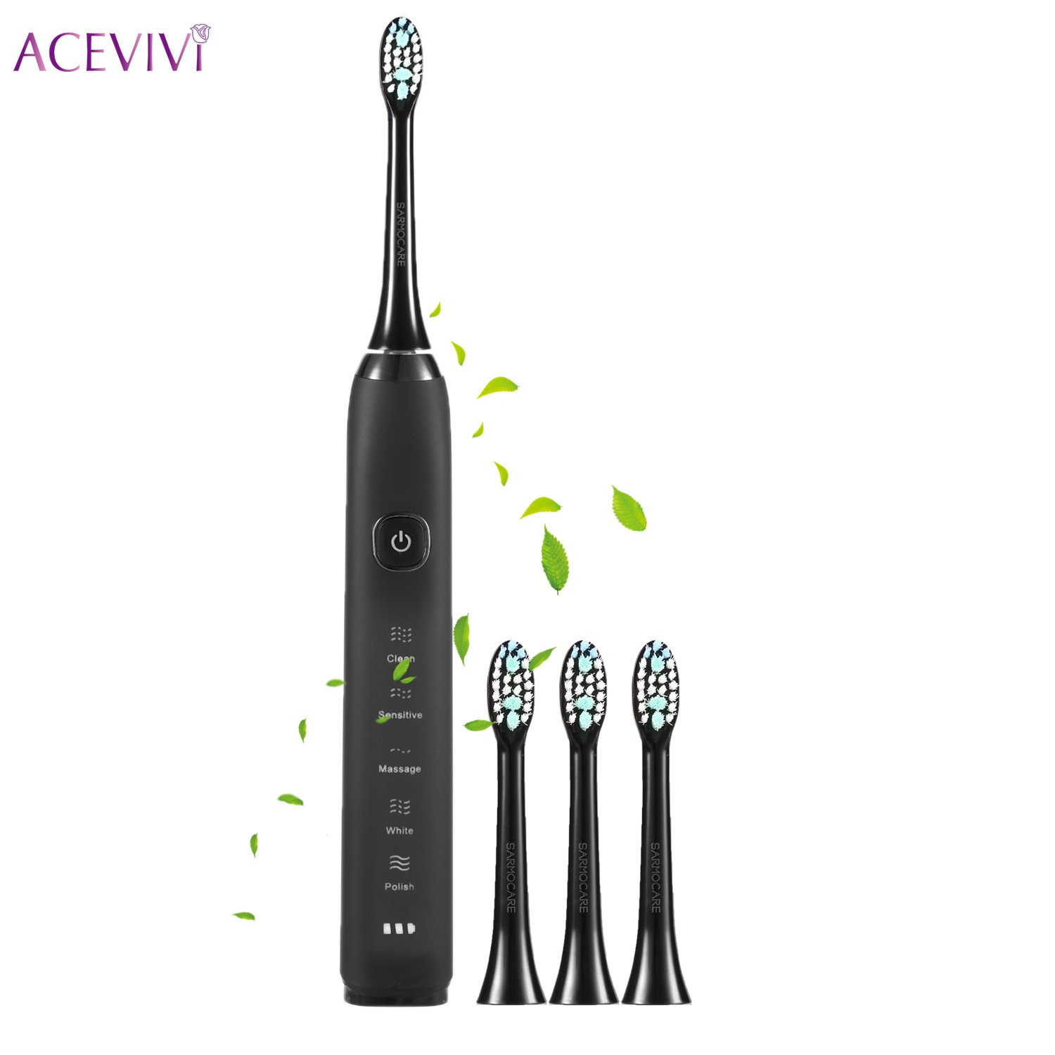 ACEVIVI Ultrasonic Sonic USB Charge Rechargeable Electric Toothbrush With 3 Replacement Heads Timer Brush Beast Qulaity 2pcs philips sonicare replacement e series electric toothbrush head with cap
