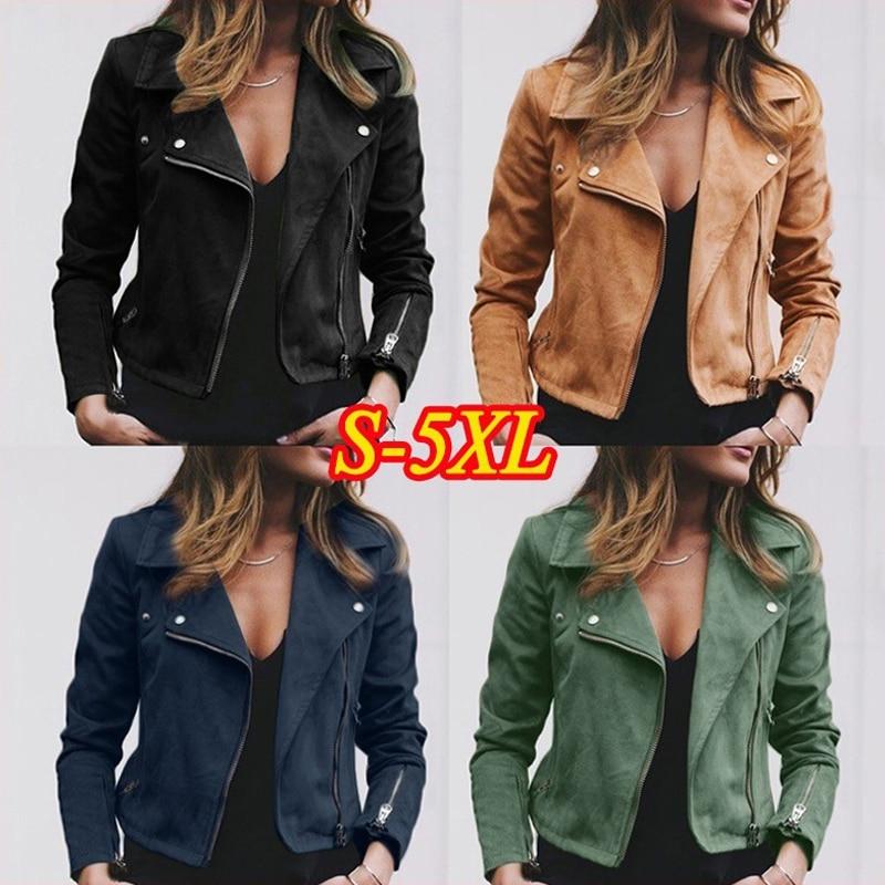 Women's Moto Suede Faux Leather  Aviator Jacket Black Short Sheepskin Bomber Female Coat  Add Shrug Plus Size 5XL Biker Jackets