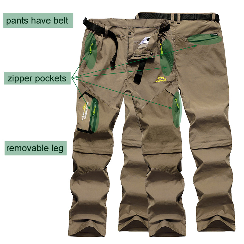 Image 4 - LoClimb Men's Summer Removable Hiking Pants Outdoor Camping Trip Trousers Man Trekking Pants Khaki Mountain Sports Shorts AM002-in Hiking Pants from Sports & Entertainment