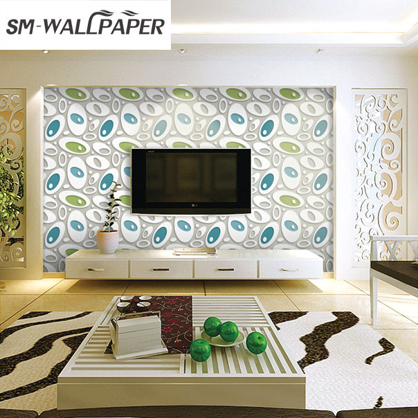 Top quality birght custom 3d wallpaper heat resisting suede pvc round wall stickers wholesale in wallpapers from home improvement on aliexpress com