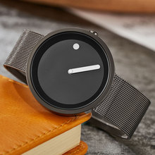 New Unique Gift Cool Minimalist Style Wristwatch Stainless Steel Mesh Creative Design Dot and Line Simple Quartz Fashion Watches