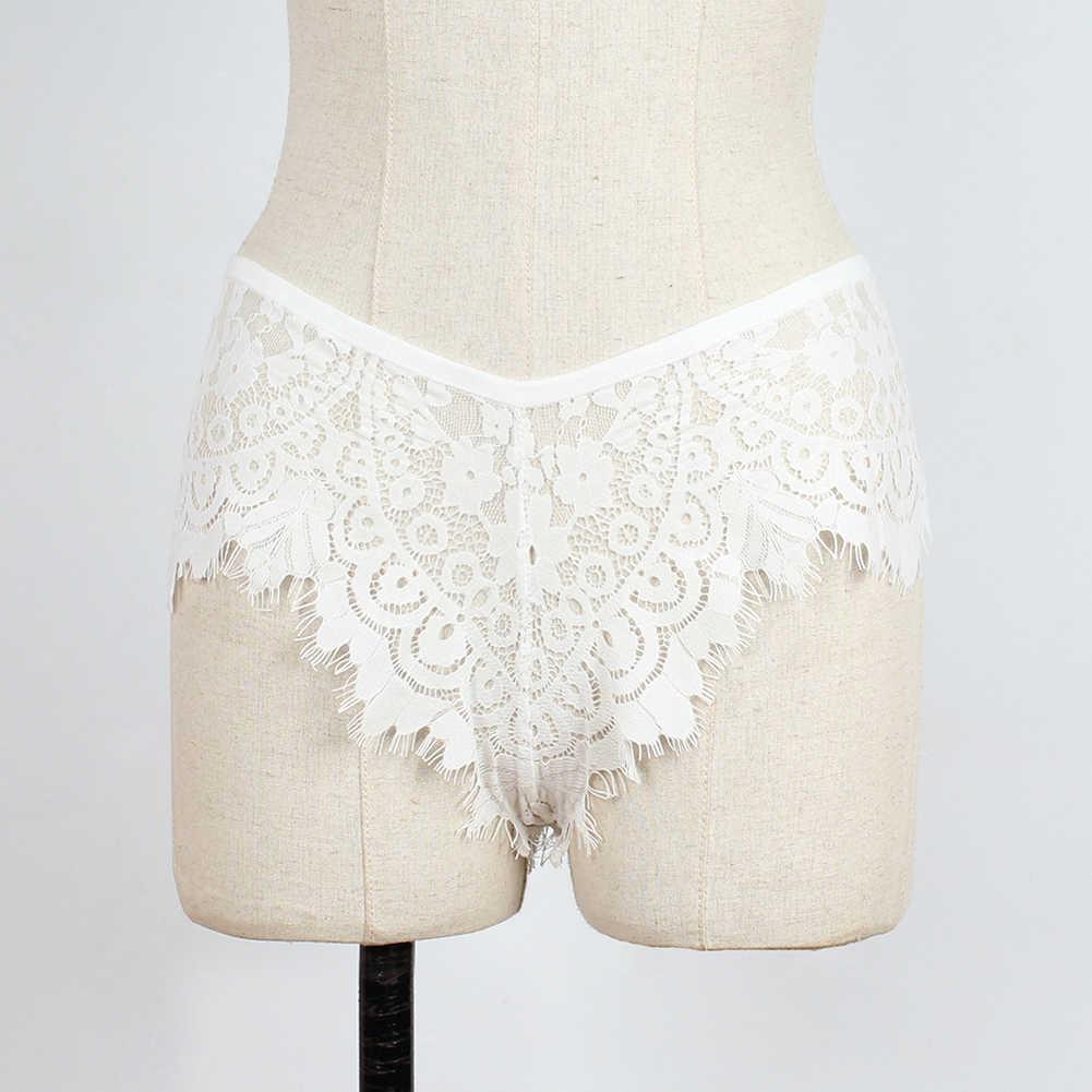 Seksi Wanita Renda Hollow Keluar Bunga Celana Ultra-Tipis Warna Solid Pakaian Thong