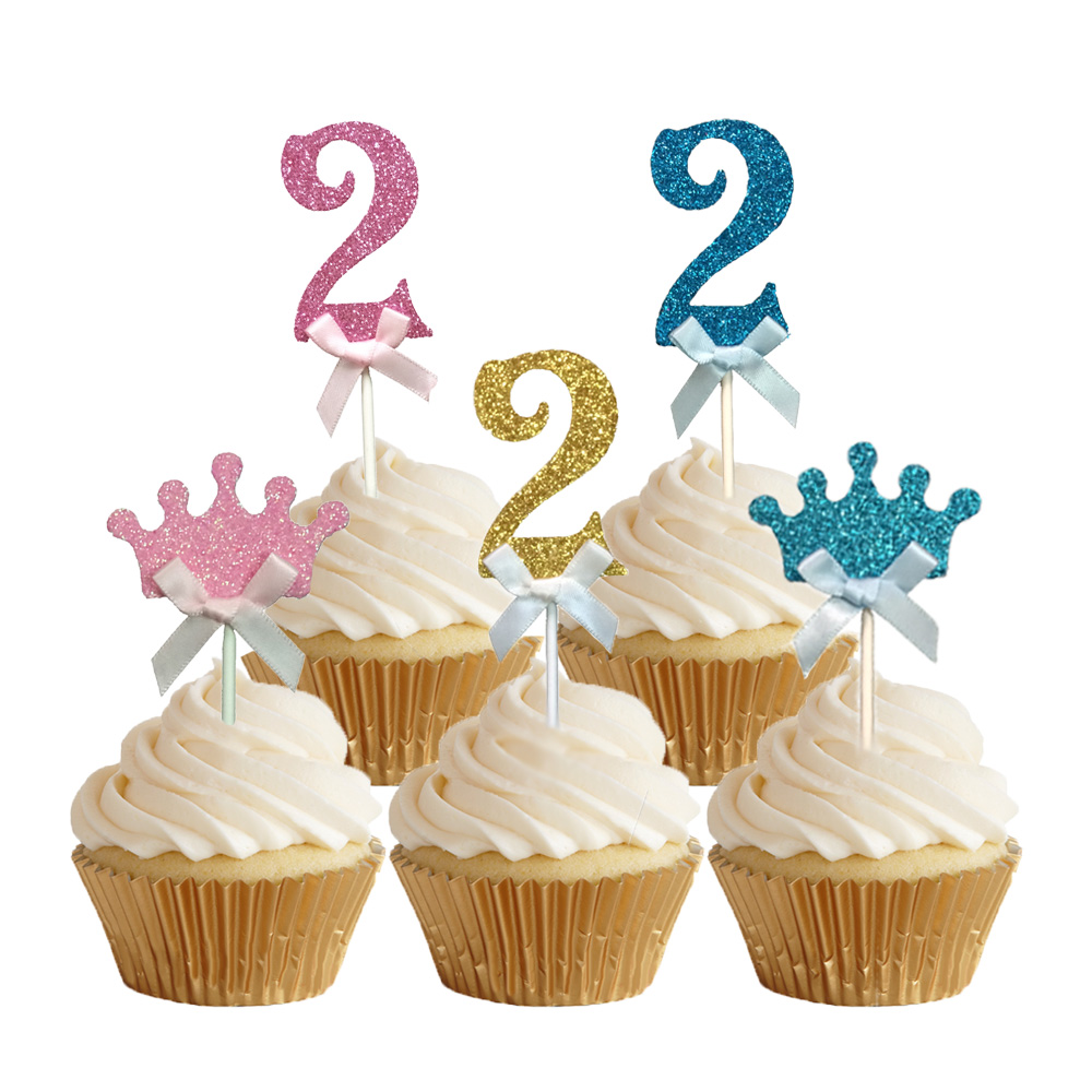 24pcs Glitter Number 2 Cupcake Toppers Baby Two Years Old ...