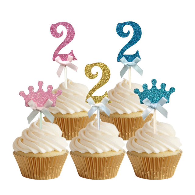 24pcs Glitter Number 2 Cupcake Toppers Baby Two Years Old Birthday Cake Topper Girls Boys The
