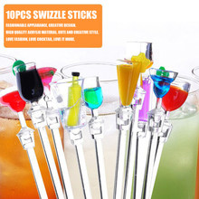 10 stks/partij Acryl Drinken Sap Puddler Roeren Koffie Mengen Schroefdraad Cocktail Picks Muddler Bar Tool Cocktail Menglepel Set(China)
