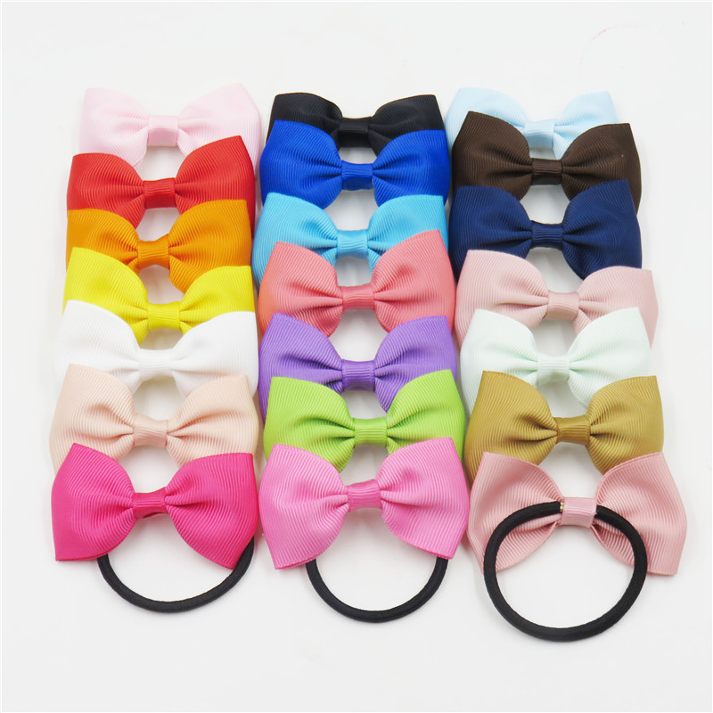 1PCS Solid Colorful Elastic Hair Bands Girls Ribbon Bows Girls Hair Ring Tie Rope Hair Accessories   Headwear   Best Holiday Gifts