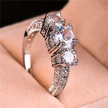 Bamos Clear Rhinestone Ring 925 Sterling Silver Filled For W