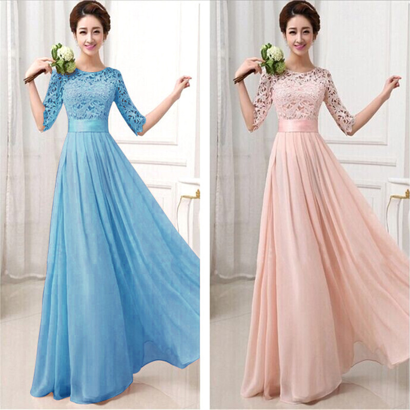 Women \'s Pink Maxi Long Dress Chiffon Half Sleeve Lace Maxi Dresses ...