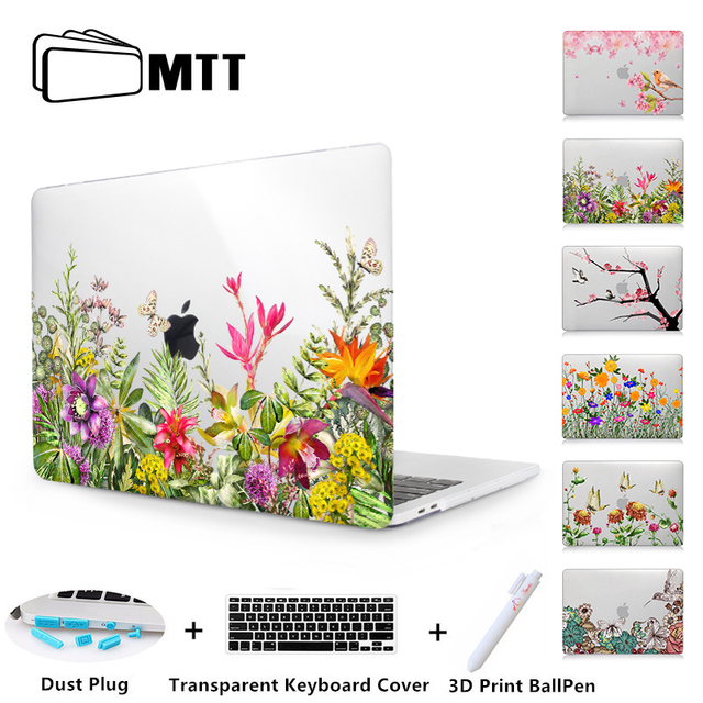 newest ba50f b1b16 US $16.59 17% OFF|MTT Flowers Crystal Hard Case For Apple Macbook Air Pro  Retina 11 12 13 15 Floral Cover For mac book Pro 13.3 inch Laptop Sleeve-in  ...