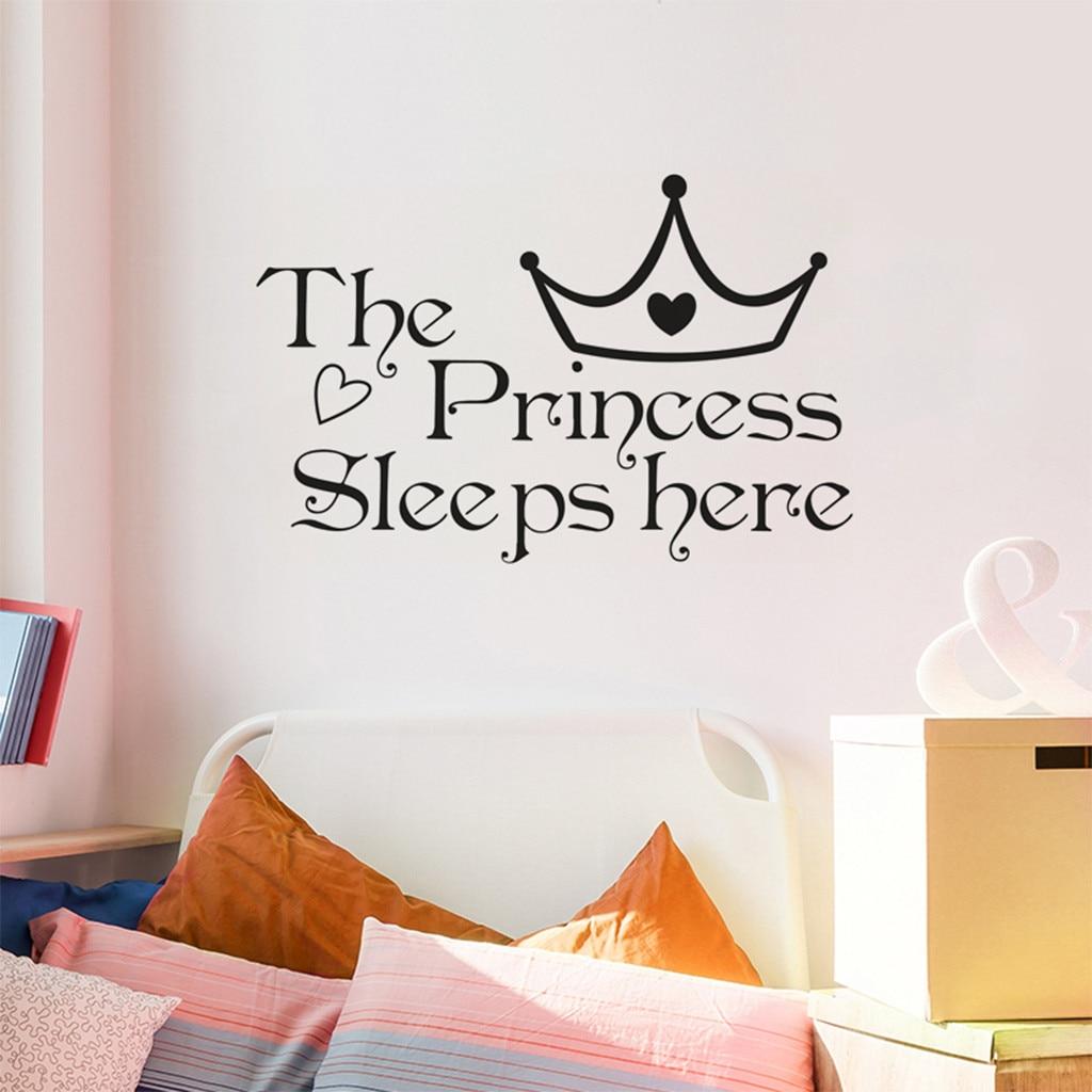 Princess Vinyl Decal Wall Sticker Words Lettering Nursery: The Princess Sleeps Here DIY Vinyl Wall Decal Wall