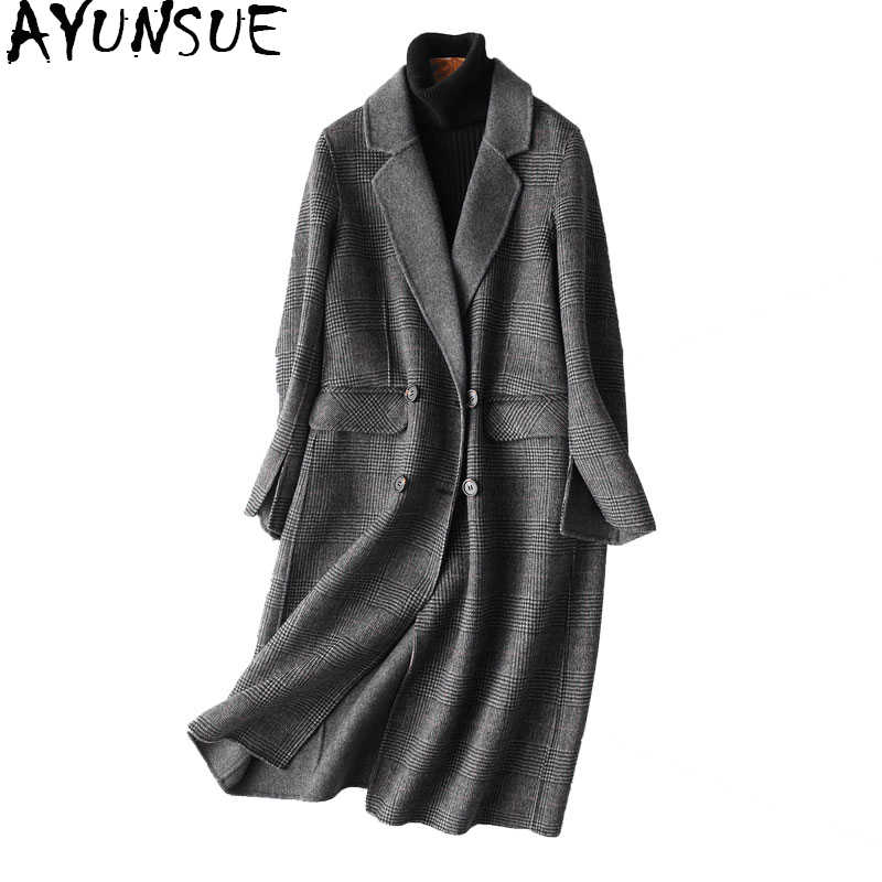 AYUNSUE Autumn Winter Coat Women England Style Plaid Real Wool Coat Female Long Jackets Outerwear manteau femme 37121 WYQ1183