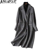 AYUNSUE Autumn Winter Coat Women England Style Plaid Real Wool Coat Female Long Jackets Outerwear manteau femme 37121 WYQ1183(China)