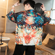#4380 Cotton Linen Kimono Shirt Men Plus Size 4XL 5XL 3D Printed Cardigan Male Vintage Loose Japanese Streetwear Hip Hop