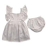 2 Pcs Princess Baby Kids Girl 2017 Bowknot Striped Dress Wedding Party Casual Dresses Summer Boho