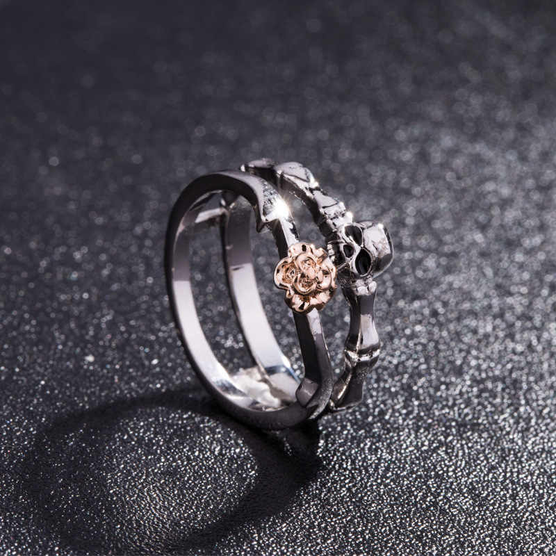 bd4ceb257217a2 ... Wedding Love Gift Skull Heart CZ Crystal Rose Flowers Ring Set Silver  Color Rings ...