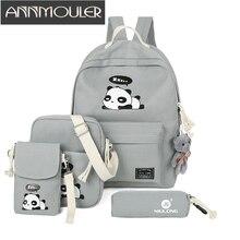Annmouler 4 шт. рюкзак Наборы для ухода за кожей Большой Ёмкость сумка Холст Рюкзак Мультфильм Повседневное рюкзак Обувь для девочек студент Школьные сумки