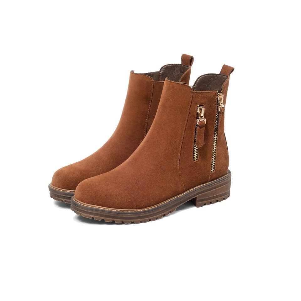 Bas Vinlle En Bout D'hiver Chaussures Mode Femme Khaki 43 Bottes 2019 Daim Talon noir Carré Moto Vache Rond marron Cheville Dames Taille 34 rxrvOq8w