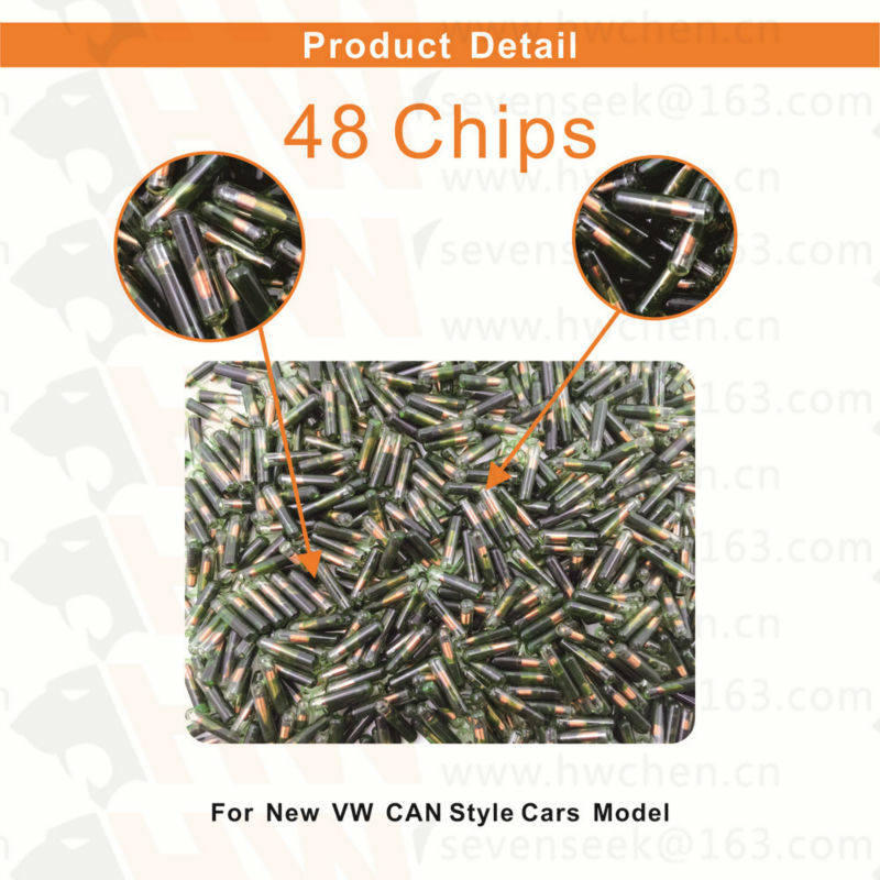30PCS free shipping Car key auto Transponder Chips ID48 Glass tube with Tango for VW for