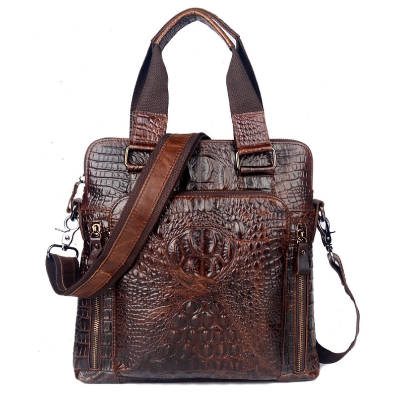 Men S Genuine Leather Cowhide Crocodile Pattern Business