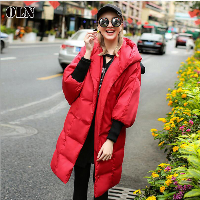 OLN 2018 New Winter Womens Down Jacket Sweet Ear Hat Medium Long Section Loose European American Style Warm Fashion Coats PA06