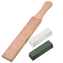 Leather Strop with Compounds Kit, Honing Block Stropping Leather Paddle Strop 4.58 oz Green White Buffing Polishing Compounds все цены
