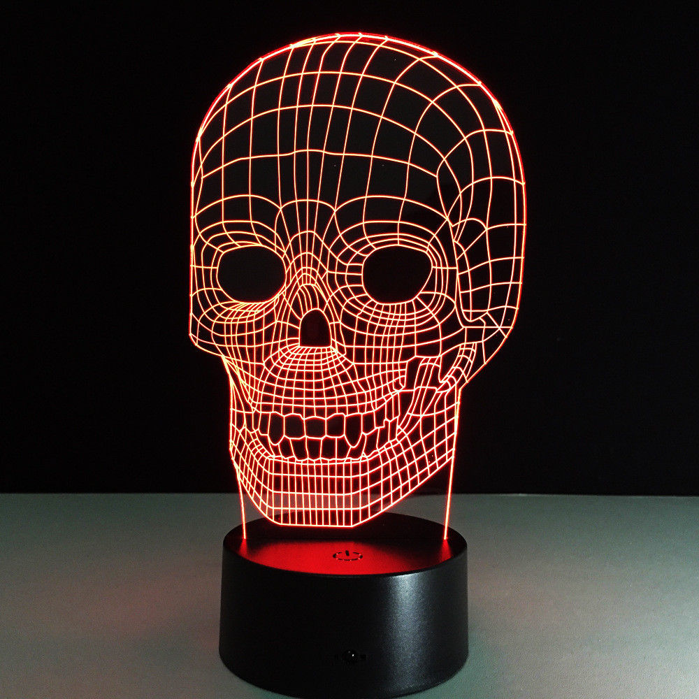 3D Lamp Light Skull Mask Led Lamp Night Light Visual Novelty 3D Desk Table Lamp 7 Colors Childrens Kid Gift