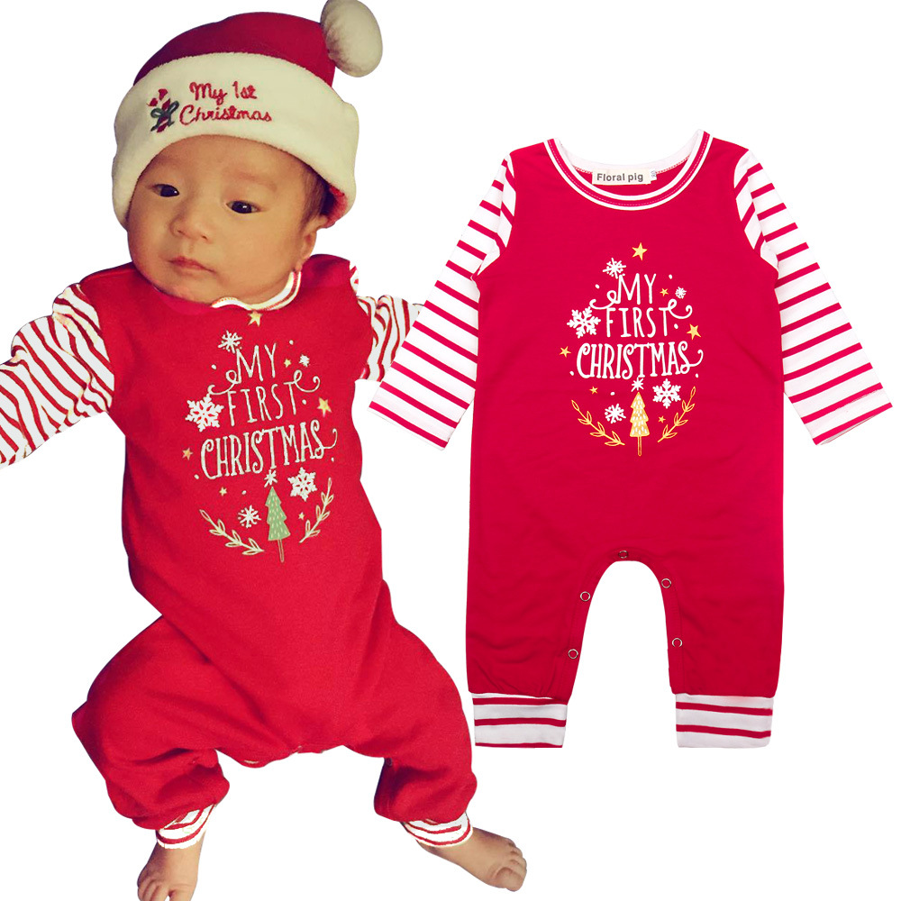 Newborn Baby Boy Girl My 1st Christmas Clothes One-Piece Romper Jumpsuit Outfits