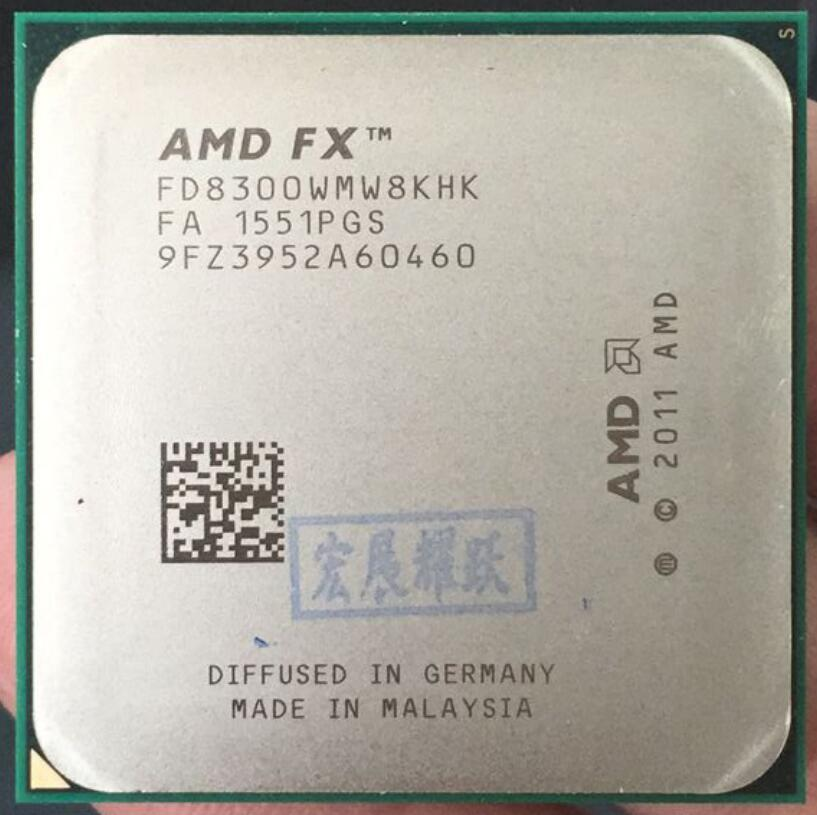 AMD FX-Series FX-8300 AMD FX 8300 Octa Core AM3 + CPU plus fort que FX8300 FX 8300 100% fonctionnant correctement processeur d'ordinateur de bureau