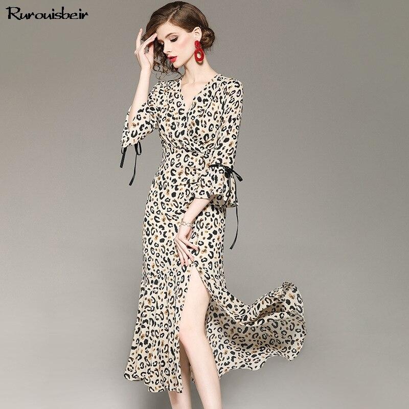 2019 printemps et été élégant femmes robe léopard imprimé col en V Flare manches longues robe taille haute Sexy Split robe Vestidos