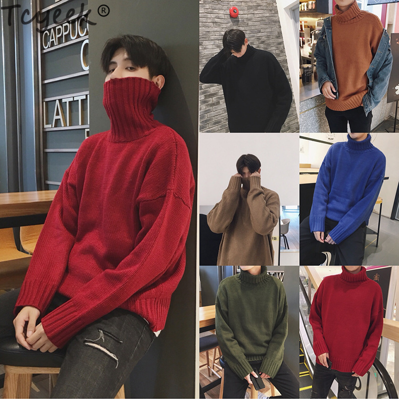 Tcyeek Winter Sweater Men 2019 Thick Warm Pullovers Turtleneck Sweaters Slim Fit Mens Clothes Casual Tops Male Pullover 968LW889