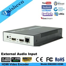Unisheen H.265 H.264 IPTV Video Encoder HDMI in out youtube facebook wowza onvif ip rtmps live streaming obs vmix wirecast
