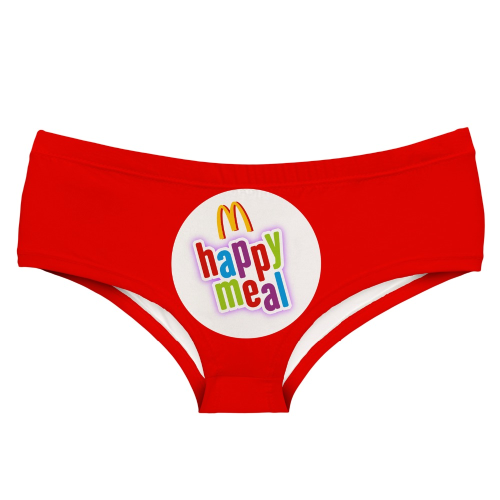 LEIMOLIS happy meal Letter red funny print sexy hot   panties   female kawaii Lovely underwear push up briefs women lingerie thongs