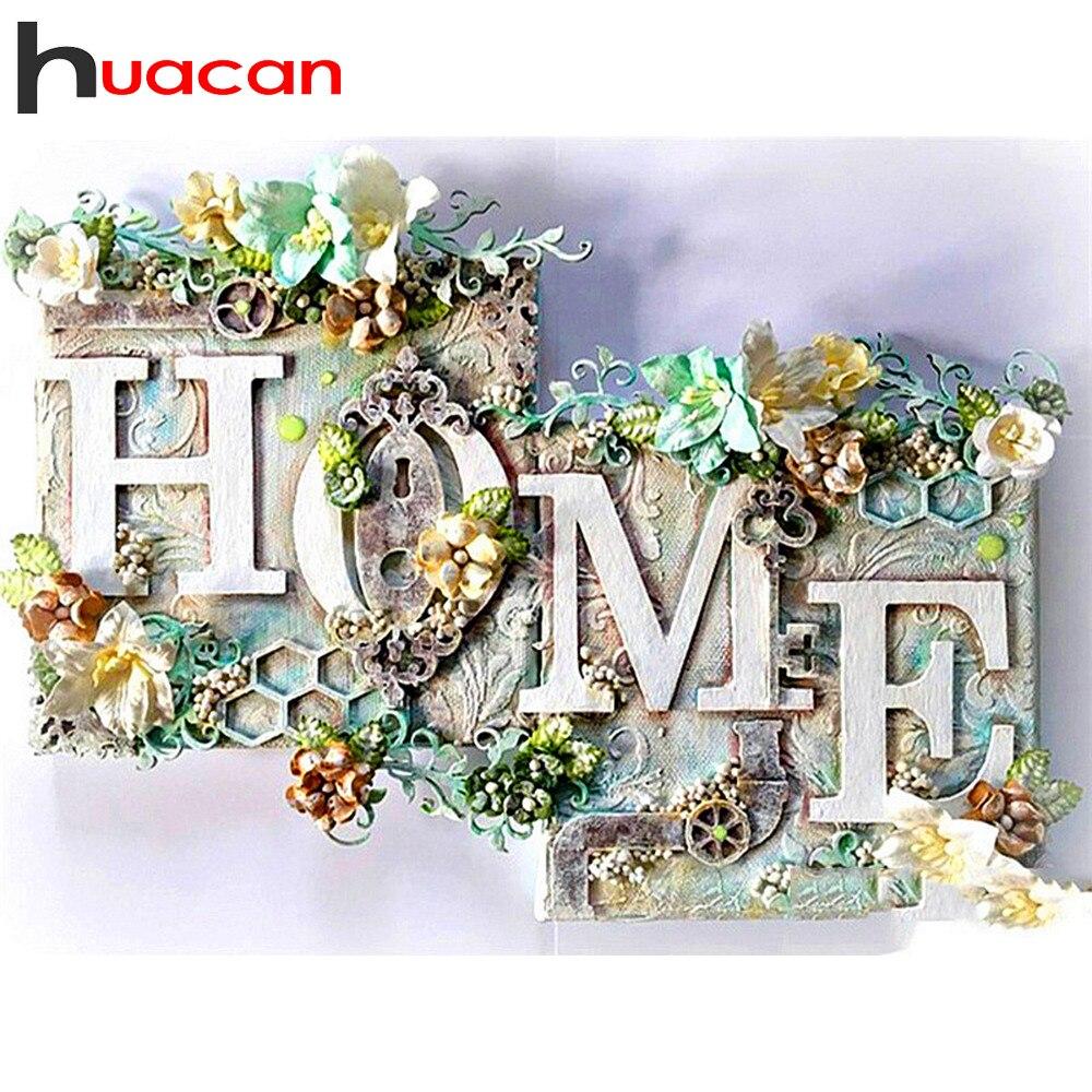 Huacan 5D diamant peinture maison plein carré/rond fleur diamant broderie paysage mur décoration diamant Art