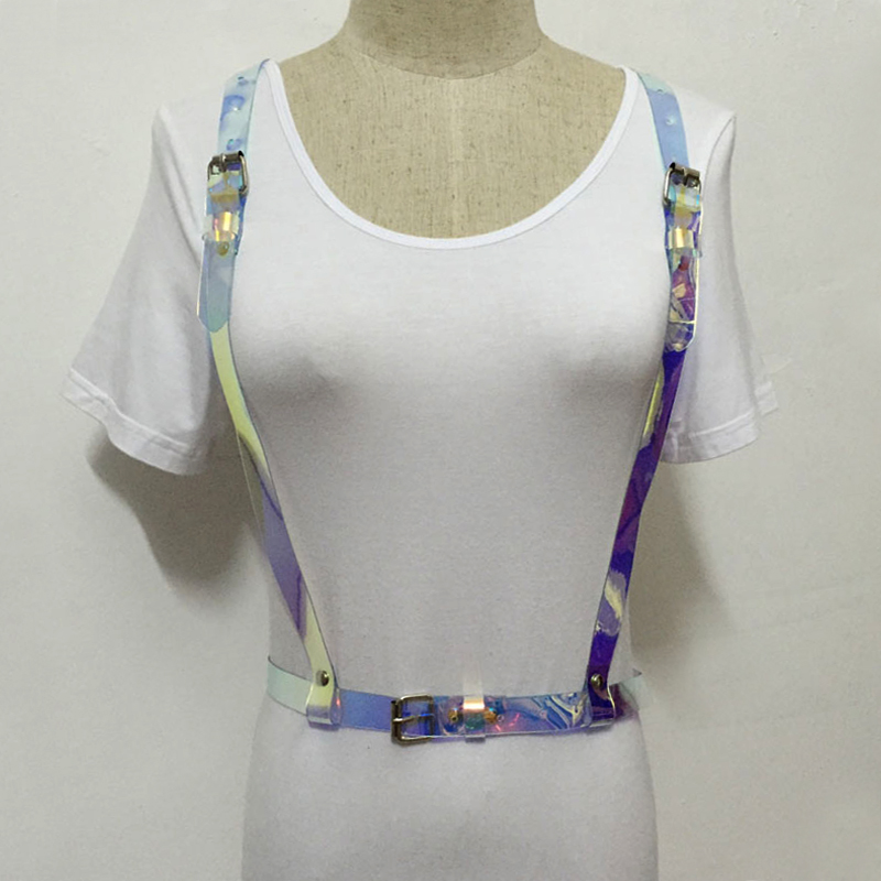 Women's Belts New Sexy Punk Women Men Holographic Vinyl Pvc Body Harness Hologram Rainbow Bonage Top Caged Leather Belt Waist Cool Straps To Suit The PeopleS Convenience