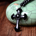 obsidiantm Counter genuine wholesale supply of men and women natural matte Obsidian Cross Pendant Necklace Crystal Jewelry