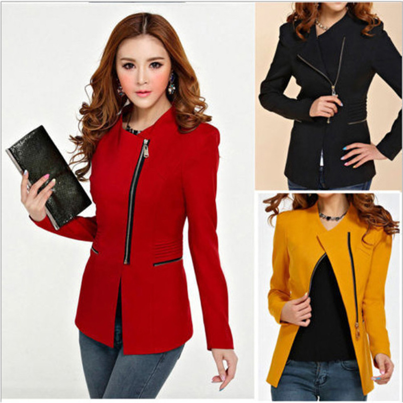 Fashion 2019 Zipper Suit Long Sleeve Slim Women Blazers And Jackets Spring Autumn New Brand Solid Lapel Collar Outerwear Coats